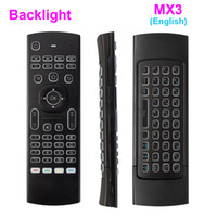 Wholesale Ir Qwerty Remote - X8 Backlight MX3 Mini Keyboard With IR Learning Qwerty 2.4G Wireless Remote Control 6Axis Fly Air Mouse Backlit Gampad For Android TV Box i8