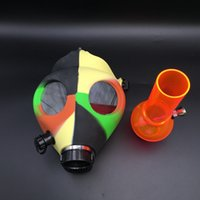 Wholesale Wholesale Gas Mask Filters - DHL Free!!! Silicone Gas Mask Bong Silicone Water Pipes Acrylic bongs Sealed Acrylic Hookah Pipe Filter Smoking Pipe Oil Rig Glass Bongs