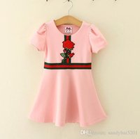 Wholesale Striped Infant Princess Dress - Kids Girls Rose Dresses 2017 Summer Baby Girl Dress Infant Girls Striped Tutu Dress for Party Princess Vestidos Children Clothing S988