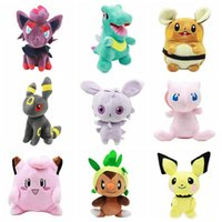 Wholesale Chespin Plush - 10 Styles 20cm Poke Plush Toys Pikachu Stuffed Animals Dolls Pocket Dolls Cartoon Chespin Clefairy Hamster Doll 100pcs