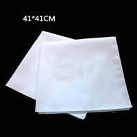 Wholesale wedding cotton handkerchiefs - 41cm*41cm Square Handkerchiefs 100% Cotton Hankerchiefs Pure White Women Men Pocket Wedding Plain DIY Print Draw Hankie