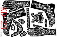 plantillas de pintura corporal kits de plantillas al por mayor-Wholesale-1sheet KD23 tatuaje plantillas manos / pies henna tatuaje plantillas aerógrafo profesional mehndi nuevo Body Kit de suministros suministros
