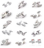 Wholesale Oval Cufflinks - 15 Styles OVAL Shirt Mens Wedding Cufflinks Cuff Link Clips Groom  Best Man Grooms man Usher Page Best Friends Gift Accessories