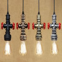 4 estilo Loft Industrial Iron Water Pipe Steam Punk Vintage Pendant Lamp Cordão E27 LED Light para Bar personalizado Cafe Restaurant