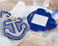 tags favoritas do partido favorito venda por atacado-Praia Tema Anchor Etiqueta de Bagagem Tag De Saco De Plástico Azul Favor Do Casamento Bridal Shower Party Presente Convidado Presente Favor
