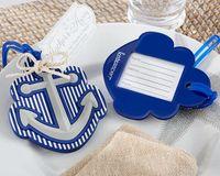 ingrosso borse blu di favore di nozze-Spiaggia Tema Anchor Bagagli Tag Blue Plastic Bag Tag Bomboniera Bridal Shower Party Regalo ospite presente Favor