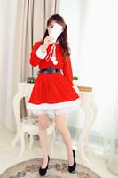 Wholesale Temptations Cat - 2017 Free Shipping Christmas Uniform Temptation Two Hair Ball Christmas Eve Clothing Gauze Backing Cat Girl Christmas Suit