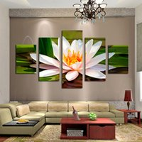 Wholesale custom framed canvas prints resale online - Framed panels HD Print Painting White Flowers Printed on High Quality Canvas Modern Home Wall Decor in custom sizes