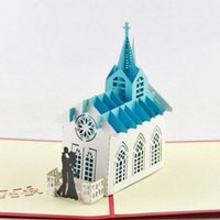 Wholesale Origami 3d Cards - 10pcs Bride Groom Church Handmade Kirigami Origami 3D Pop UP Greeting Cards Invitation card For Wedding Birthday Party Gift