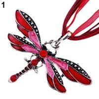 Wholesale brilliant necklace - Wholesale- Brilliant quality Fashion Dragonfly Charms Chic Necklace With Chain Rhinestone Inlay Gemtone 5CWH