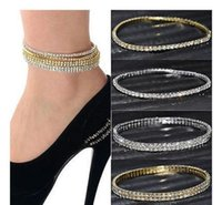 2 Rows Sparkly Anklet Summer Beach Barefoot Sandal Ankle Chain Crystal Rhinestone Stretch Anklets Foot jewelry for Woman