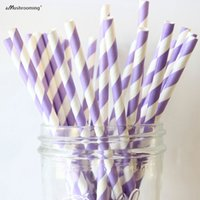 Wholesale Paper Straws Purple - Wholesale-(25 pieces lot) Lilac Striped Paper Straws Biodegradable Light Purple and white Decorative Paper Straws Party Table Decor