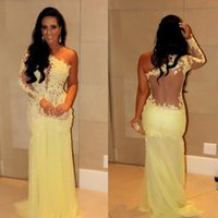 Wholesale Long Sleeve Evening Dresses Uk - 2017 One Shoulder Yellow Evening Dresses Mermaid Prom Gown Long Floor Length Traditional Dress For Ladies UK Women On Line