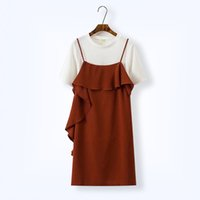 Wholesale Korean Dresses For Plus Size - Hot Sale Plus Size 5XL T-shirt Lace Camis Dress for Women 2017 Summer Two Piece Large Size Vestidos Ruffles Korean Dresses Robe