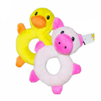 Wholesale Cute Pig Plush Toy - Cute Cartoon Puppy Dog Chew Squeaker Cute Duck&Pig Squeaky Plush Sound For Dog Sound Toy Teethers Mix Order 50PCS LOT
