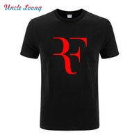 Wholesale Wholesale Mens Black Khaki Shirts - Wholesale- Fashion New Roger Federer RF printing T Shirts Men Casual Round collar Short Sleeve Cotton Mens summer t Shirt