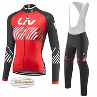 Wholesale Thermal Set Women - New LIV Cycling jersey set Woman MTB maillot bike Cycling clothing Winter thermal fleece long sleeve Bicycle Wear Bike Clothing D1114