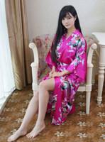 горячие розовые платья невесты оптовых-Wholesale- Hot Sale Hot Pink Chinese Lady Bathrobe Silk Rayon Long Kimono Bath Gown Bridesmaid Wedding Sexy Nightgown Dress One Size