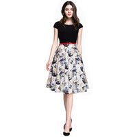 Wholesale Cute Waist Skirts - 2017 women summer new fashion print floral dress sexy casual cute sweet bedding mosaic waist A word skirt nice dress