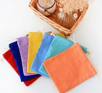 Fabric oz fold - Plain dyed oz cotton canvas blank storage bag drawstring bag cotton pouch for DIY print embroidery