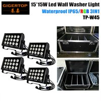 4IN1 Flightcase Pack 15 * 15W LED Wall Wash Lâmpada 225W Washer Flood Light Reflector Cup Iluminação de paisagem ao ar livre Liso RGB 3IN1