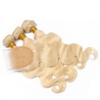 rus çörekleri top toptan satış-613 Rus Sarışın Bakire Saç Kapatma Ile 3 Demetleri Ile 4 * 4 Dantel Kapatma 10A Üst İnsan Saç Ücretsiz Bölüm Kapatma Ile