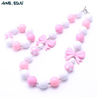 Wholesale Chunky Bow Necklaces - MHS.SUN Pink Bow Chunky Necklace&Bracelet Set Fashion Pink+White Beads Children Girl Toddler Bubblegum Chunky Bead Necklace Jewelry Set