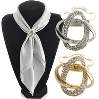 Wholesale Scarf Clasps - 2 in 1 Dual purpose scarf accessories jewelry gold plated alloy twine scarf clip brooch for scarf rhinestone brooch