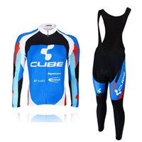 Wholesale Cube Cycling Set - CUBE pro Cycling Clothing ropa ciclismo hombre Long Sleeve set Bicycle Cycling Jersey Men Outdoor Bike Sportwear Bib Pants E0506