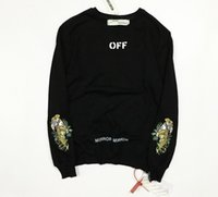 Wholesale Double Sided Sweater - The latest The tide brand off white embroidery tiger side zipper sleeves hip hop double round neck sweater huwena arrow Terry hoodies tiger