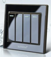 Push-Button-Schalter, Black Crystal Acryl Panel, Wandleuchte 4 Gang 1 Way Switch