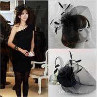 Wholesale Veil Birds - Free Shipping Hot Sale black Bird cage Net Wedding Bridal Fascinator Hats Face Veil Feather black Flower for party accessory