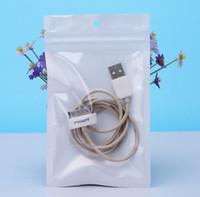 fermuarlı sızdırmazlık torbaları toptan satış-Küçük 8 * 13 cm Beyaz / Temizle Öz Seal Fermuar Plastik Perakende Paketi Ambalaj Çanta, Kilitli Zip Kilit Çanta asmak delik ile