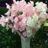 Wholesale Sakura Wholesale - Silk Flower Cherry blossom flower Wedding Silk Flower Artificial Sakura 2 Color Option High Quality Vases Home Decoration 102-1019