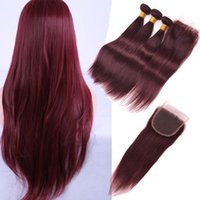 Wholesale Dark Red Virgin Hair - 7A 99J Red Peruvian brazilian Straight human hair extension 3 Bundles Dark Wine Red Color Peruvian virgin hair burgundy weave With Closure