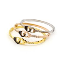 Wholesale Luxury Handcuffs - 2017 Fashion Luxury Brand Bangle Stainless Steel Love Rose Gold Color Black Handcuffs Bracelet Women Gift