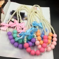 Wholesale wholesale children jewelry - South Korean princess necklace 2017 candy color beaded jewelry trade summer bowknot pearl necklace in children