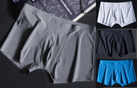 Wholesale Men Boxer Briefs Lycra - men's boxer briefs goats'milk silk fiber naked feeling seamless breathable middle waisted men underwear underpants 4 colosr L-3XL