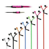 microphone pour casque achat en gros de-Écouteurs Zipper Casque 3.5MM Jack Basse Écouteurs In-Ear Zip Écouteur Casque avec MIC pour Iphone 5 6 Plus Samsung S6 android téléphone mp3 pc