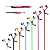 auriculares de color al por mayor-Cremallera auriculares de 3.5mm para auriculares Jack Bass auriculares en la oreja postal para auricular con micrófono para Samsung S6 teléfono androide mp3 pc