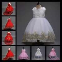 Wholesale Gauze Dresses For Kids - Flower Girl Dresses With Long Train For Weddings White Pink Red Mesh Embroidery Gauze Children Party Dress Kids Clothes