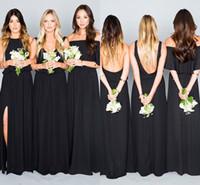 vestido verde menta negro al por mayor-2017 Vestidos de dama de honor bohemios Invitados de boda Vestidos con cuello en V Menta Verde Negro Coral gasa Partido largo Fiesta Tallas grandes Vestidos de dama de honor