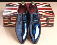 Wholesale low heel champagne wedding shoes - Oxfords Men Genuine Leather Brand Spring Autumn Men's Formal Leather Shoes red leather bottom Dress Biritsh Vintage Retro Shoe Elegant Shoe
