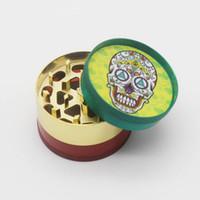 Wholesale Grinders Sale - candy skull tobacco herb grinder rasta color diameter 51mm 4parts zinc alloy stone grinders spice grinder inventory sales