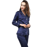 Wholesale Home Woman Pajamas - 2017 Fashion Spring Women Silk Pajamas Sexy Long Sleeve Sleep Wear Silk 2 Pieces Home Wear