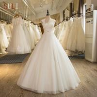 vestido de noiva com cinto venda por atacado-100% real Pictures A-line vestido frisado apliques de casamento Sheer colher frisada Belt Vestido de Noiva Laço-se por Mulheres
