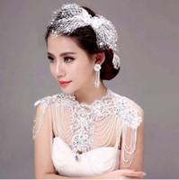 Wholesale Jewelry Wraps Shoulder Crystal - Graceful White Applique Lace Rhinestone Bridal Jackect Wedding Wraps Shoulder Necklace Body Chain Jewelry 2017