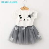 Wholesale Leader T Shirt - Bear Leader Girls Clothing Sets New Summer Fashion Style Cartoon Kitten Printed T-Shirts+Net Veil Dress 2Pcs Girls Clothes Sets