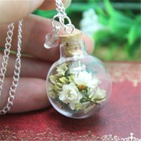 Wholesale Teardrops Chain Crystal Necklace - 10pcs Dried Ivory Flower and moss Terrarium Glass Globe Bottle Necklace crystal silver chain necklace teardrop necklace