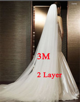 Wholesale Ivory Head - White Ivory 3M Wedding Veil Two-layer Long Bridal Veil Head Veil with Comb Wedding Accessories Fashion
